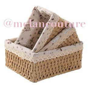 3 Pcs Storage Soft Woven Baskets Set, Handmade